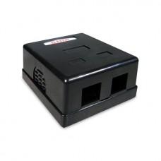 Розетка Настенная телекоммуникационная Под 2 Модуля SHIP A166-2B Чёрная