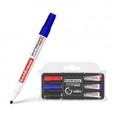 Пенал маркеров для досок ErichKrause® W-500 с губкой, цв. чернил: черный, синий, красный